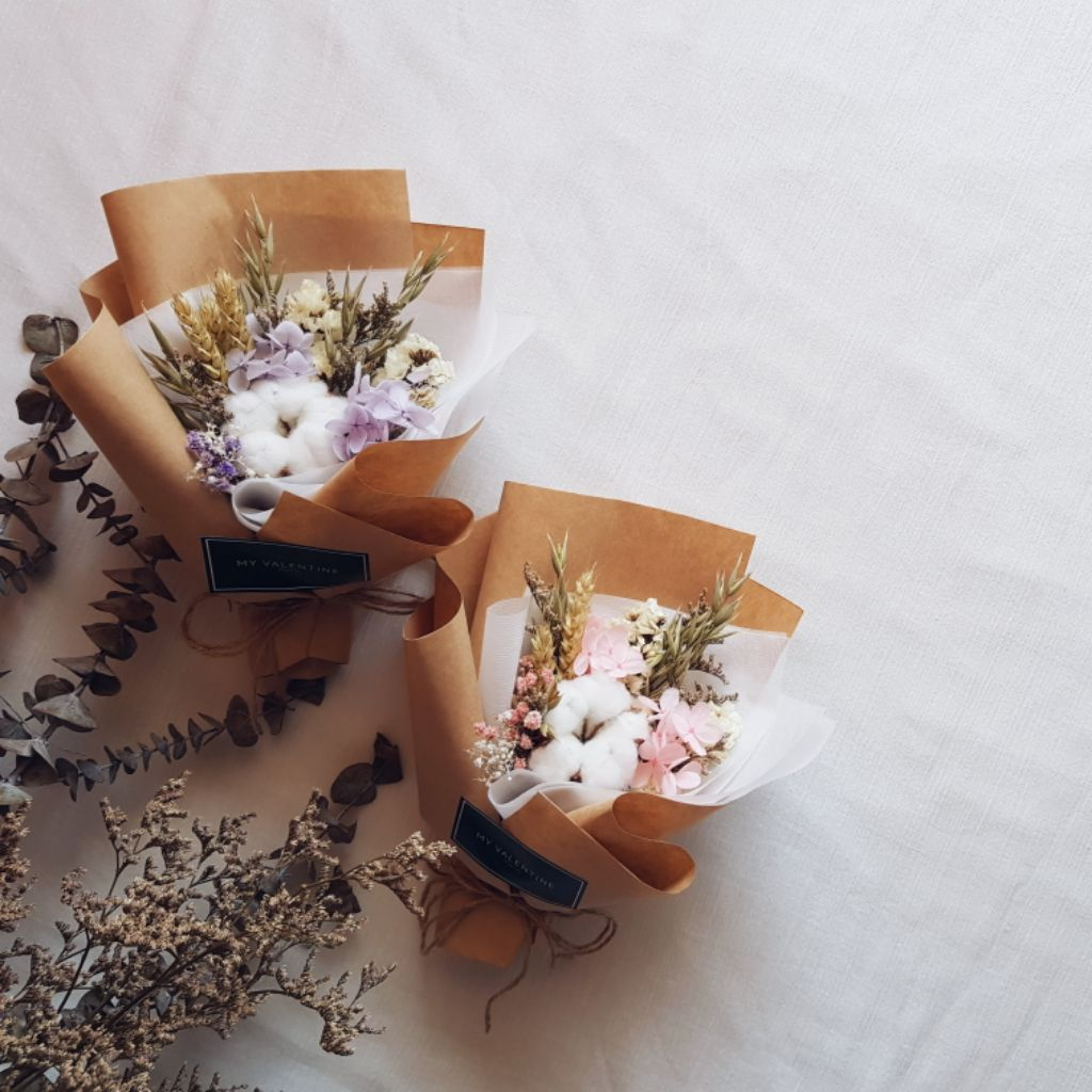 Mini Bouquet Cotton Flower With Pink Hydrangea Preserved Hydrangea Shopee Singapore