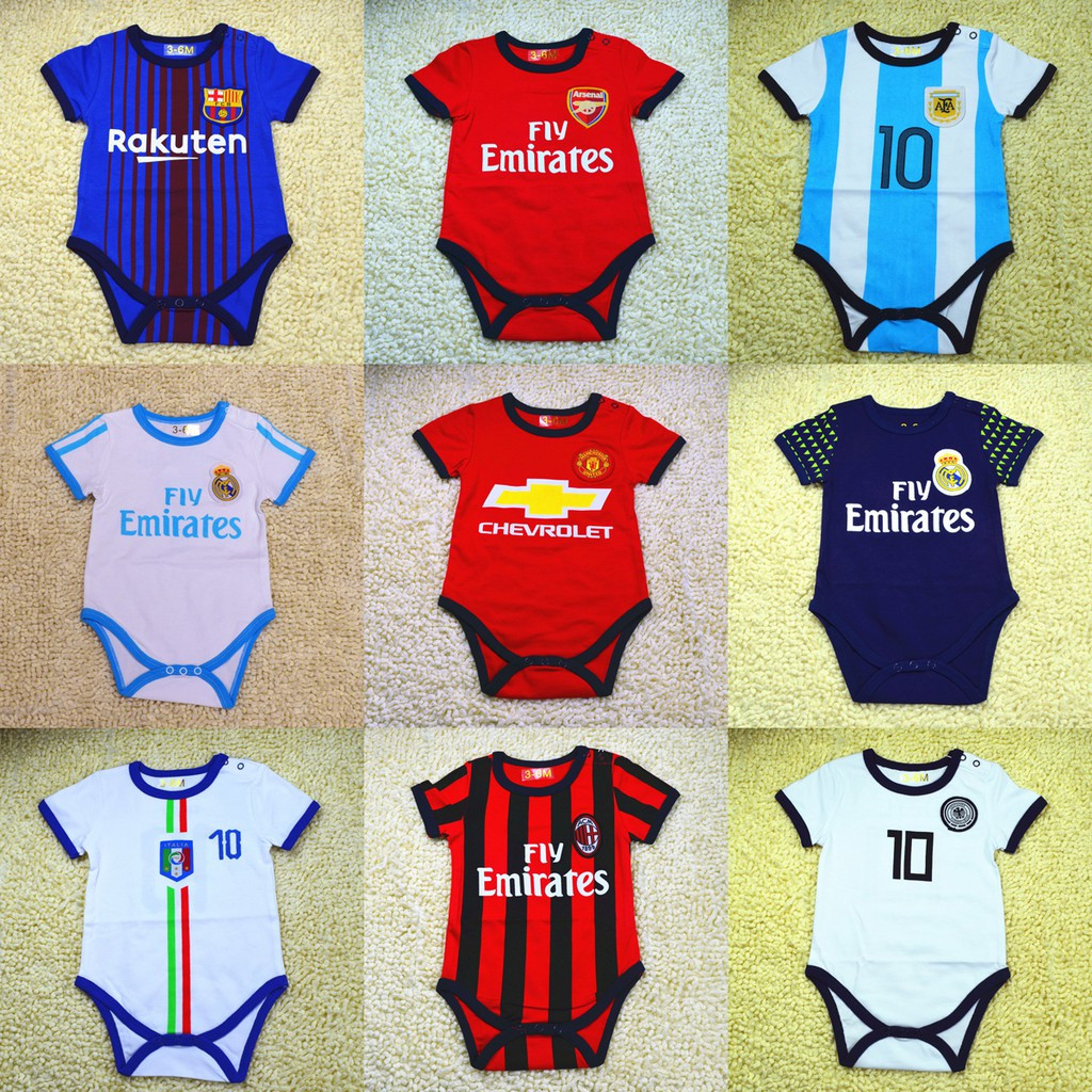info for d0f1c ba89a Cotton Newborn Baby Romper Jersey Infant Toddler Crawling Suit Kids  Football Soccer Uniform