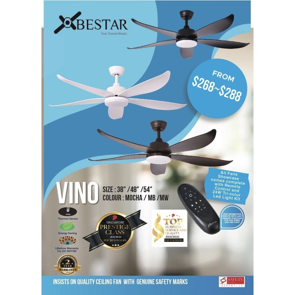 Bestar Vino Dc Motor 5 Blade Ceiling Fan With 3 Tone Led Light Kit And Remote Control Shopee Singapore