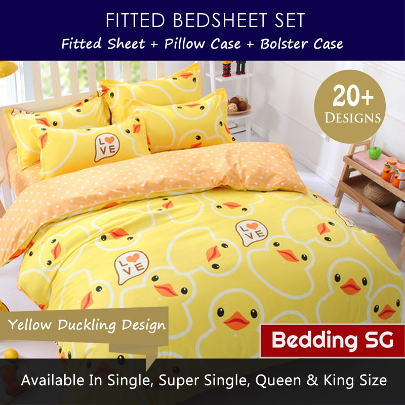 Bedsheet Set Navy Super Single Size Fitted Bed Sheet Pillow Case Bolster  Case | Shopee Singapore