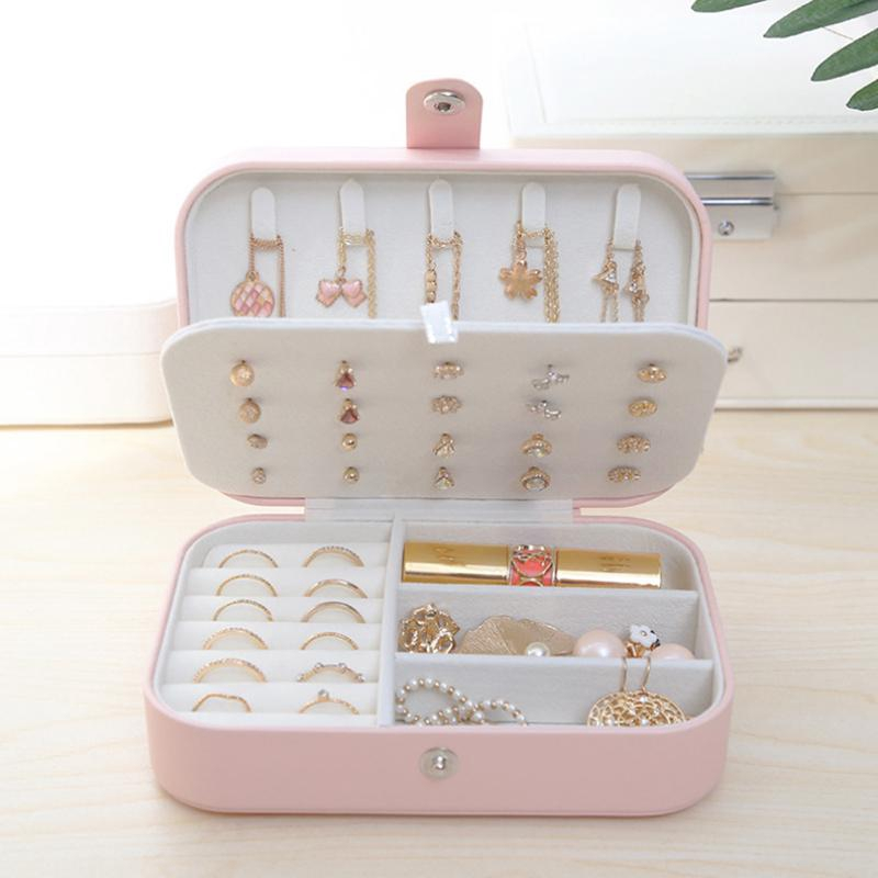 Small Travel Pu Leather Jewellery Storage Organizer For Rings Earrings Necklace Bracelets Jewelry Gift Box For