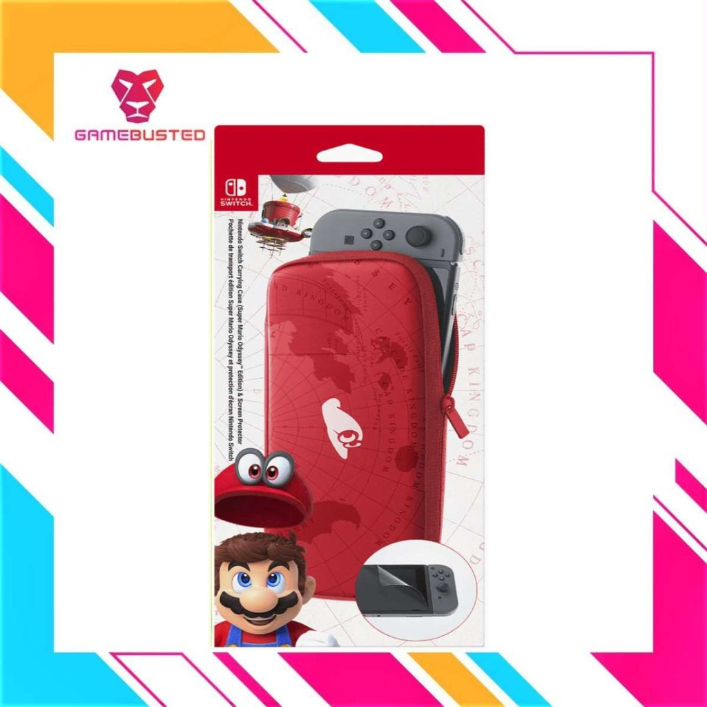 Nintendo Switch Super Mario Odyssey Carrying Case Screen Protector