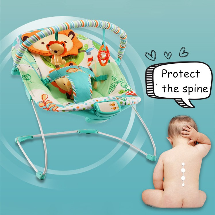 Green Music 0+Month Reclining Chair Best Gift for Baby Shower Xmas Birthday Newborn Baby Bouncer /& Rocker Chair with Soothing Vibration