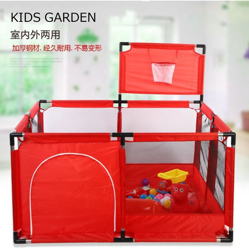 Children Play Safety Fence Playpen With Basketball Ring Kids Playground  Yard Pagar Mainan 4597 | Shopee Singapore