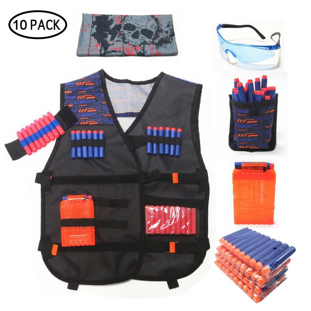 Tactical Vest Kids Foam Darts Mask Glasses Kit Set For Elite Gun ❤