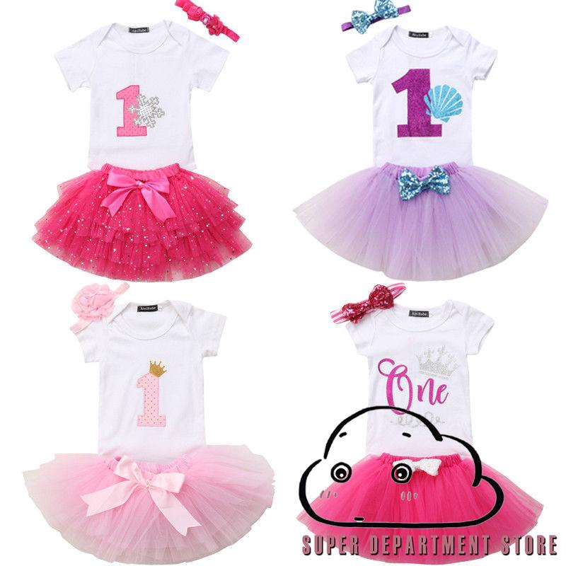 3ee6f3a86f M.D-Newborn Baby Girl First Second Birthday Romper Party Bow Dress Skirt  3Pcs | Shopee Singapore