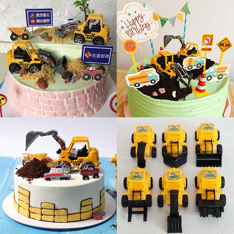 Phenomenal Bulldozer Excavator Cake Toppers Toy Figurine Transport Model Car Personalised Birthday Cards Beptaeletsinfo