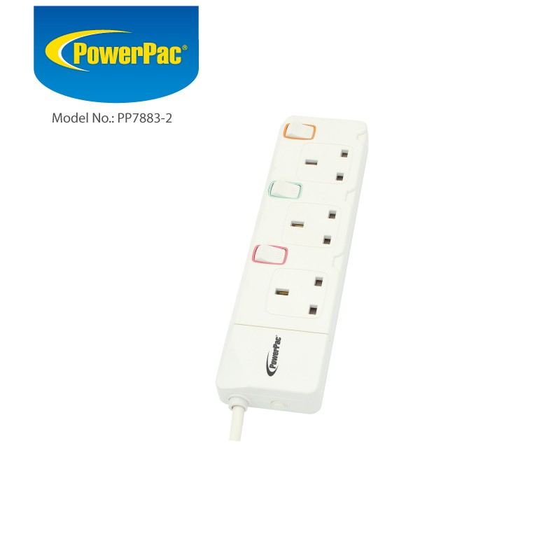 Powerpac 3 Way Extension Cord 2m With Individual Switch Pp7883 2
