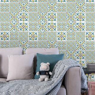 10 Pcs Retro Flower Pattern Diy Floor Tile Wall Sticker Pvc Background Decor Wallpaper