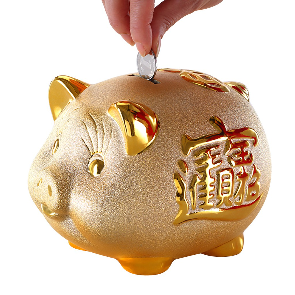 Coin Bank Ceramic Pig Money Saving Piggy Bank Desk Decor Shopee Singapore