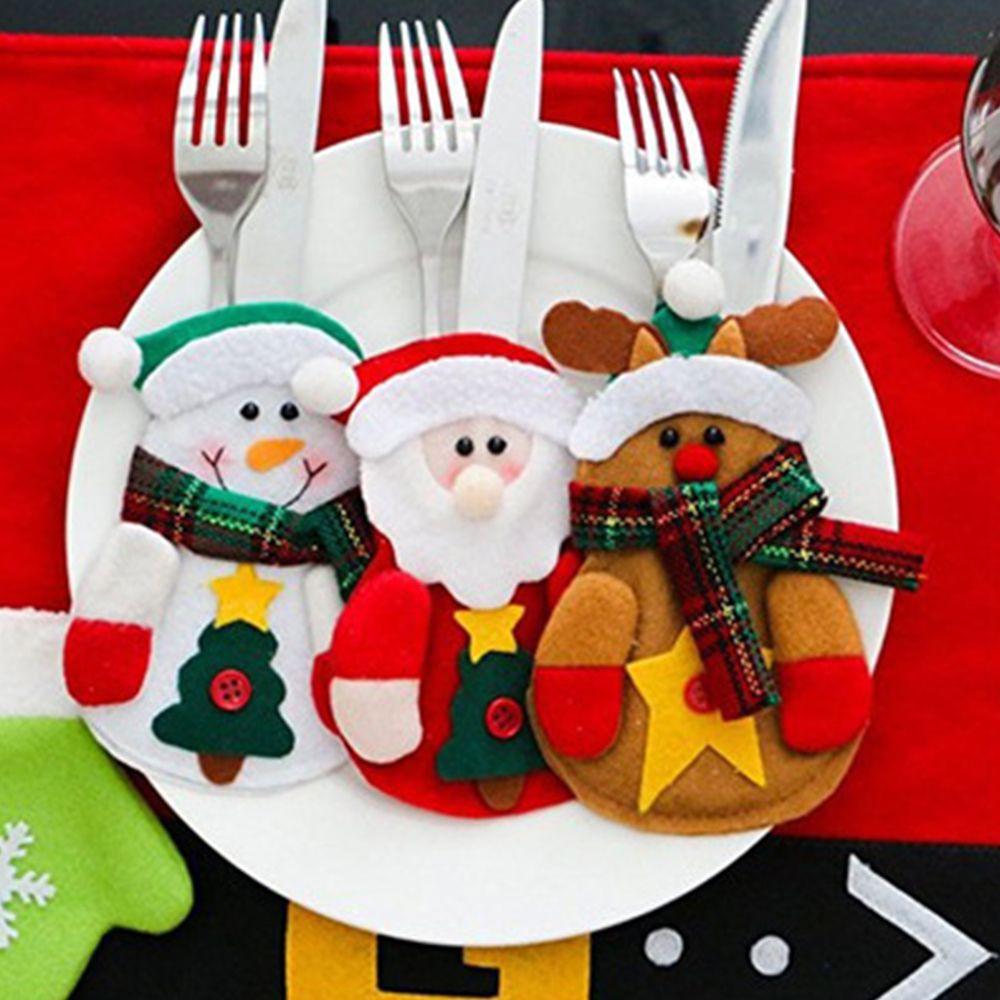 Christmas Snowman Xmas Party Decor Tableware Dinner Cutlery Holder