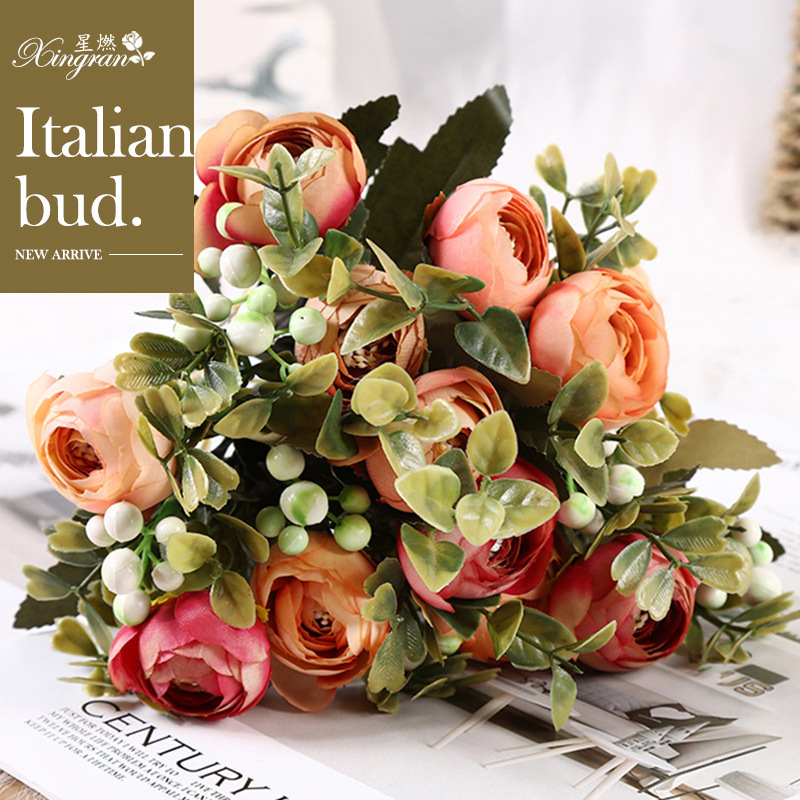 Italian Flower Artificial Flowers 6 Bouquet Home Decor Shopee Singapore