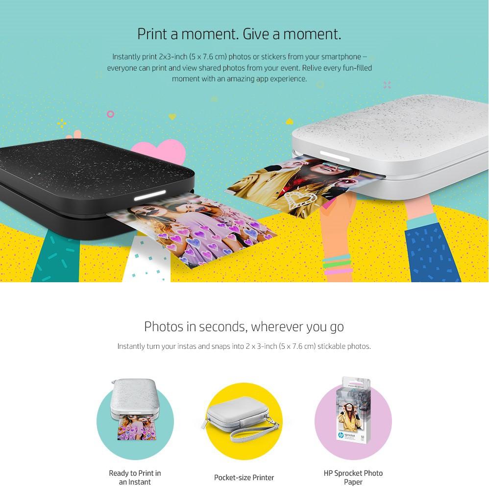 HP Sprocket New Edition Photo Printer Gift Set - Pink