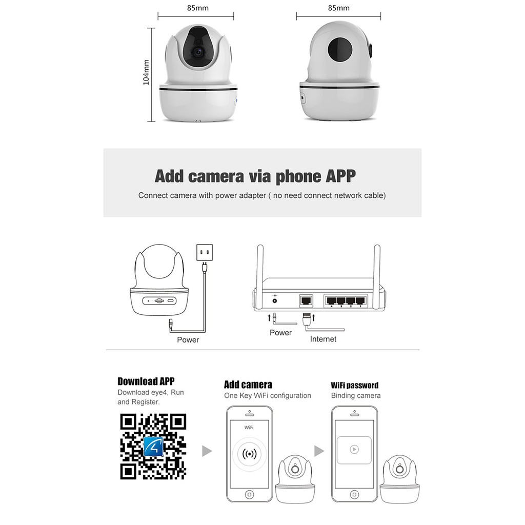 Vstarcam D26S 2 0MP HD WiFi Wireless Security IP Camera Remotely Control  Household Electronics Devices - White