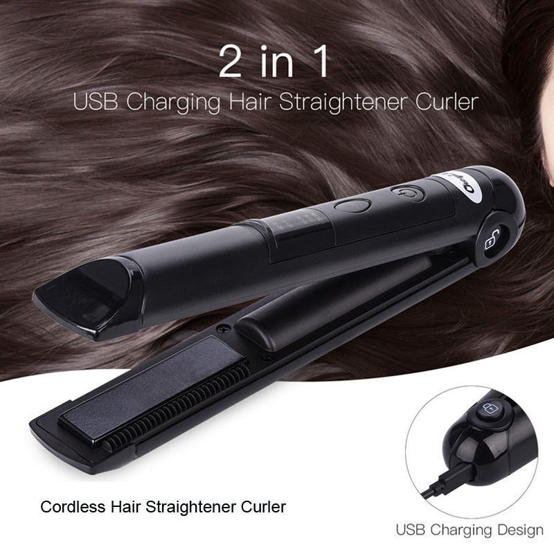 PRITECH High Quality Mini Hair Straightener 2 In1 USB Wireless Rechargeable  | Shopee Singapore