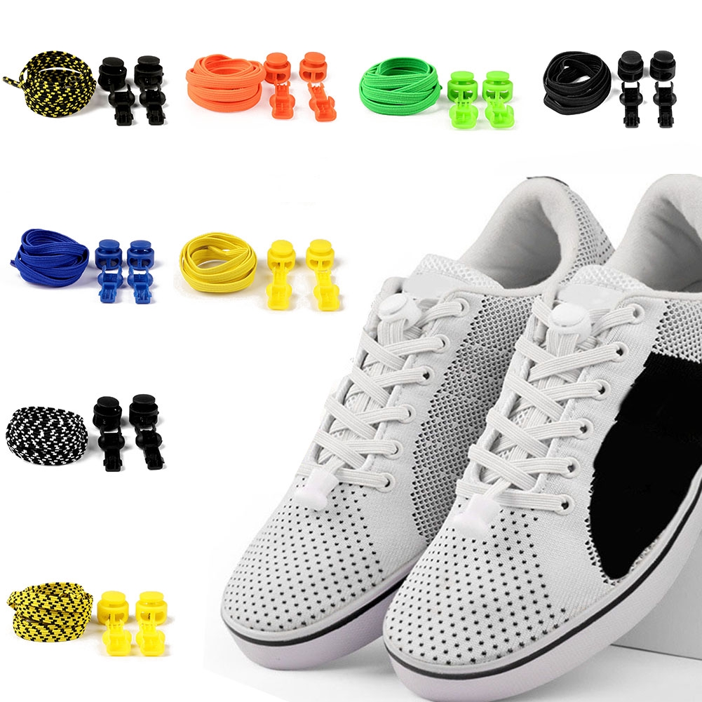 Hot Elastic No Tie Locking Shoelaces Trainer Running Athletic Sneaks Shoelaces