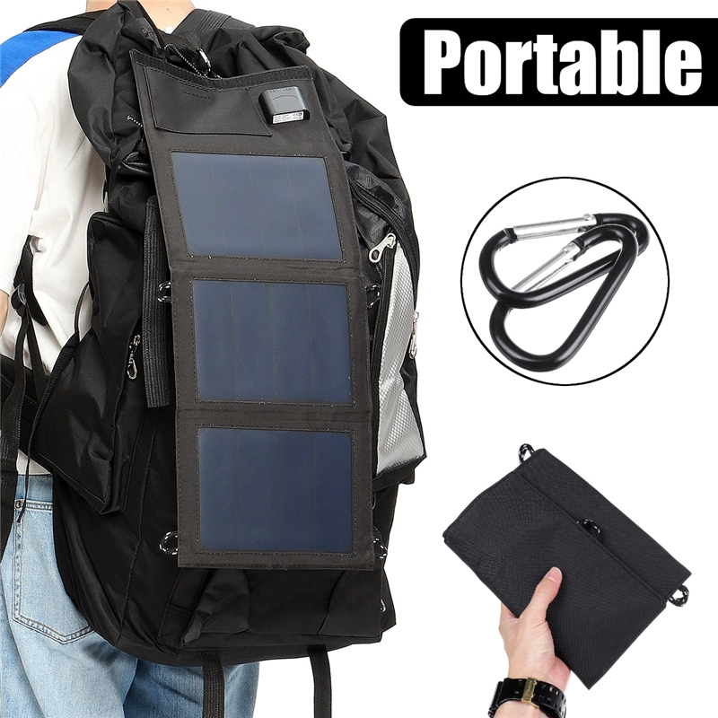Solar Panel Charger Foldable 20W USB Solar Panels Portable Folding Waterproof Solar Panel Charger Power Bank for Phone Battery Charger+2X Carabiner,Black