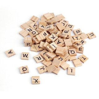 100 Wooden Alphabet Scrabble Tiles Black Letters Numbers For