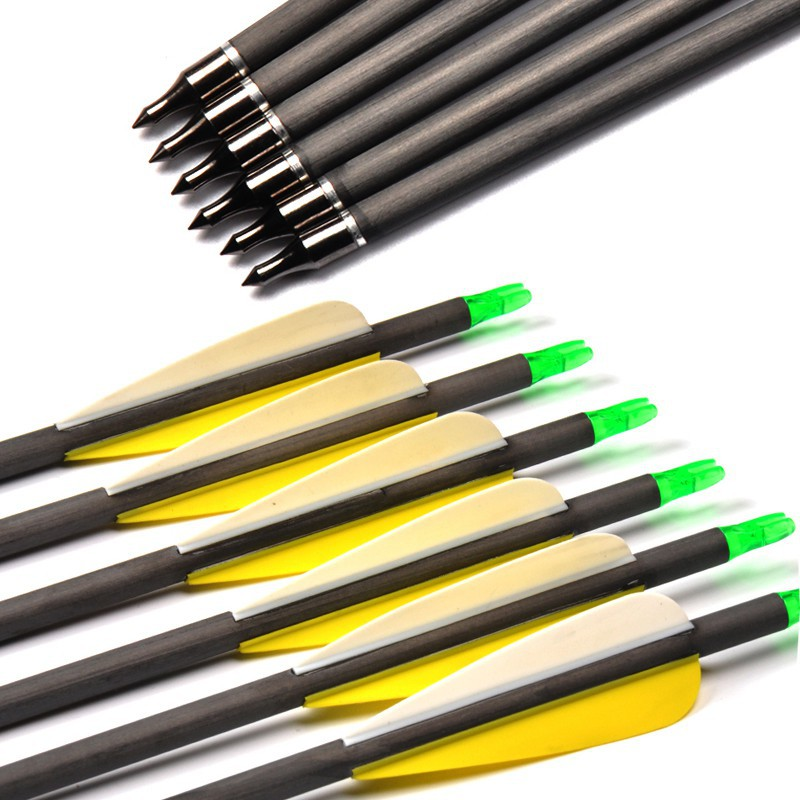12pcs 31inch Turkey Feather Mix Canbon Fiberglass Arrows 500 Spine For Shooting Easy To Lubricate Archery