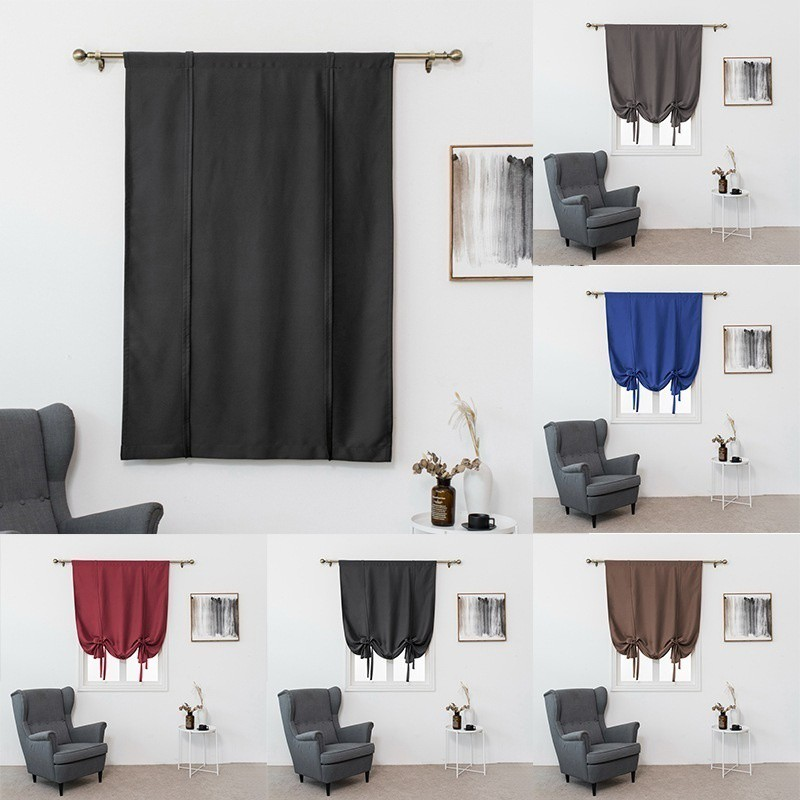 Solid Color Blackout Curtains Bedroom Window Tie Up Short Curtain Home Decor Shopee Singapore