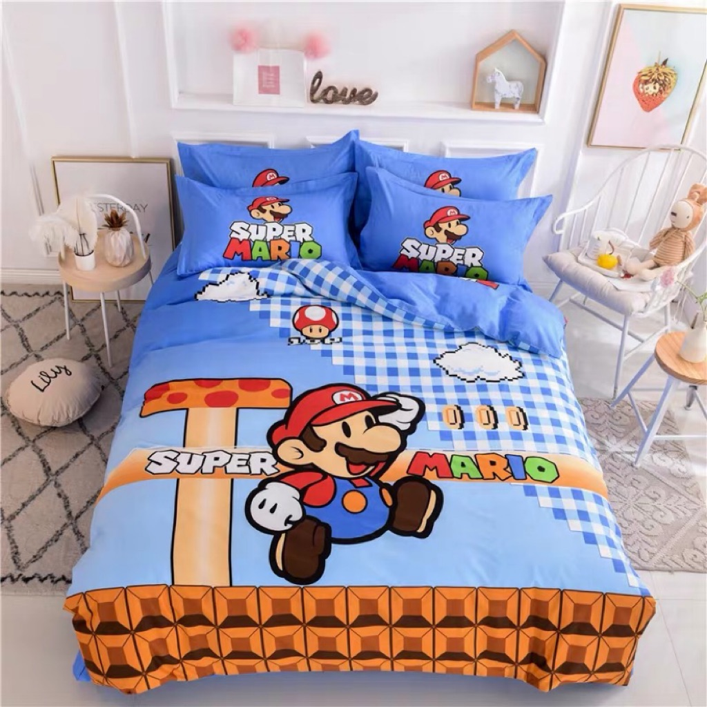 Picture of: 100 Cotton Super Mario Cartoon Fitted Bedsheet Set Shopee Singapore