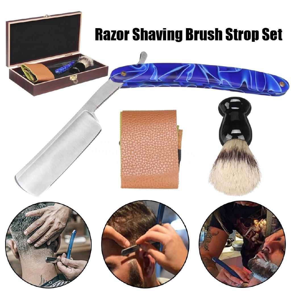 Barber Shaving Kit Set Straight Razor Shaving Brush Strop