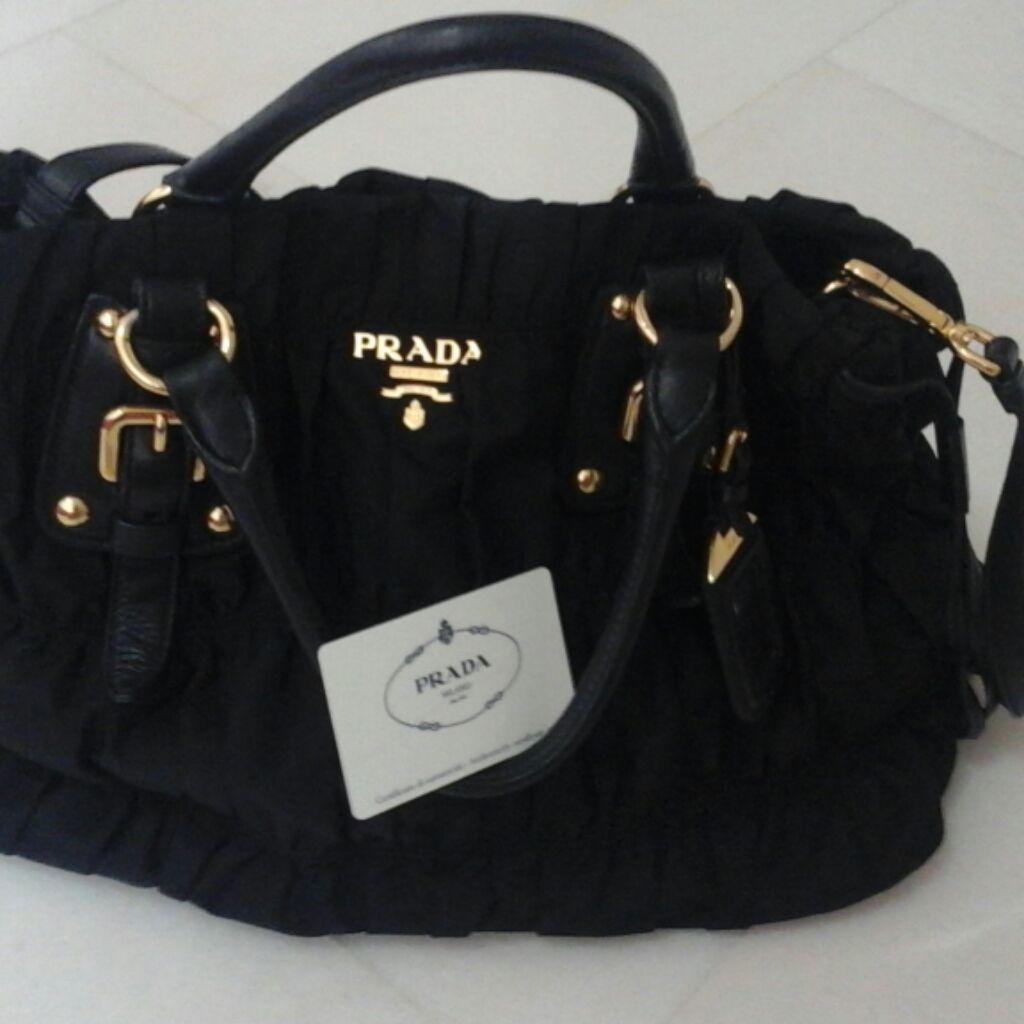 Prada Tessuto Saffiano Handbag 1BB013 - Black  5fb5826ce8ad