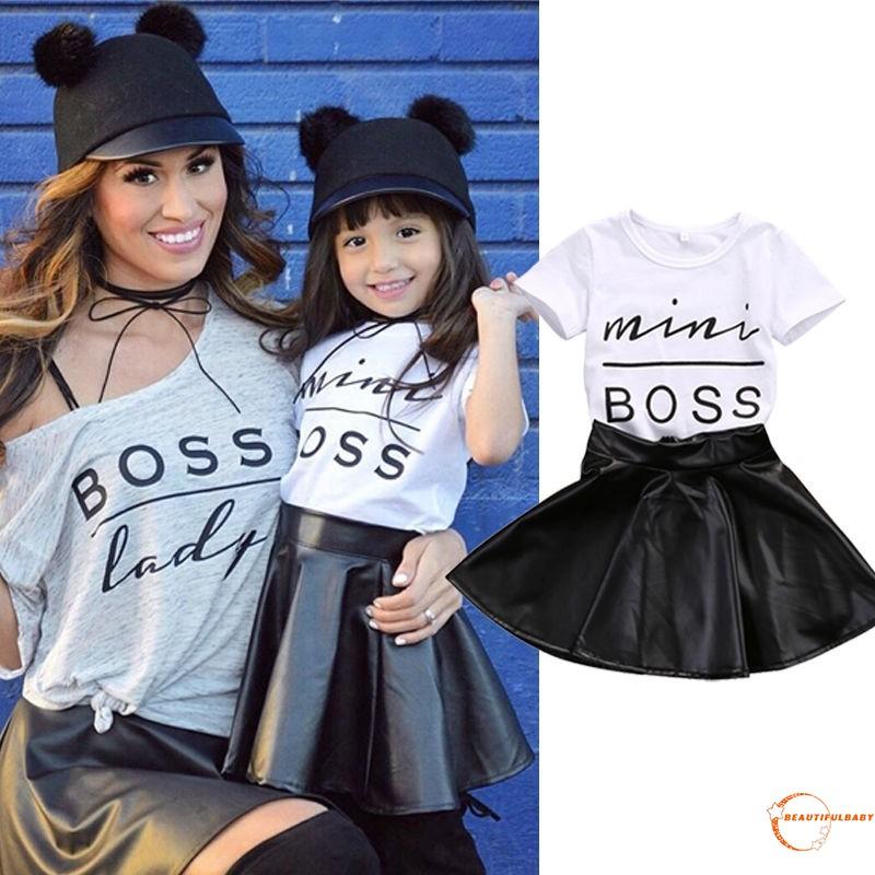 New!2Pcs Kids Baby Girls white T-shirt black Skirt Set Summer Dress Outfits