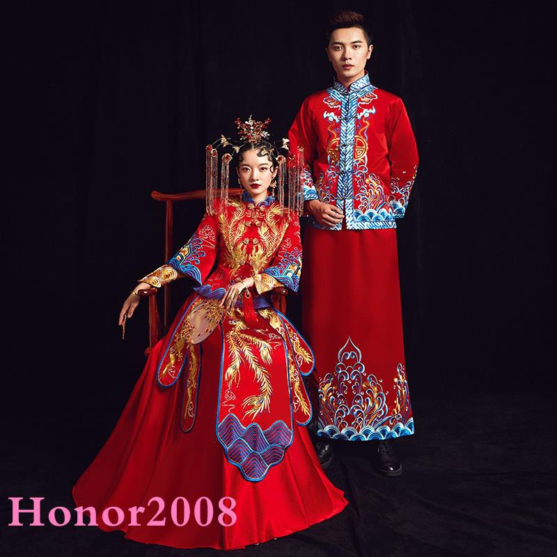 Bride Wedding Dress Couple Chinese Wedding Dress Out Clothes