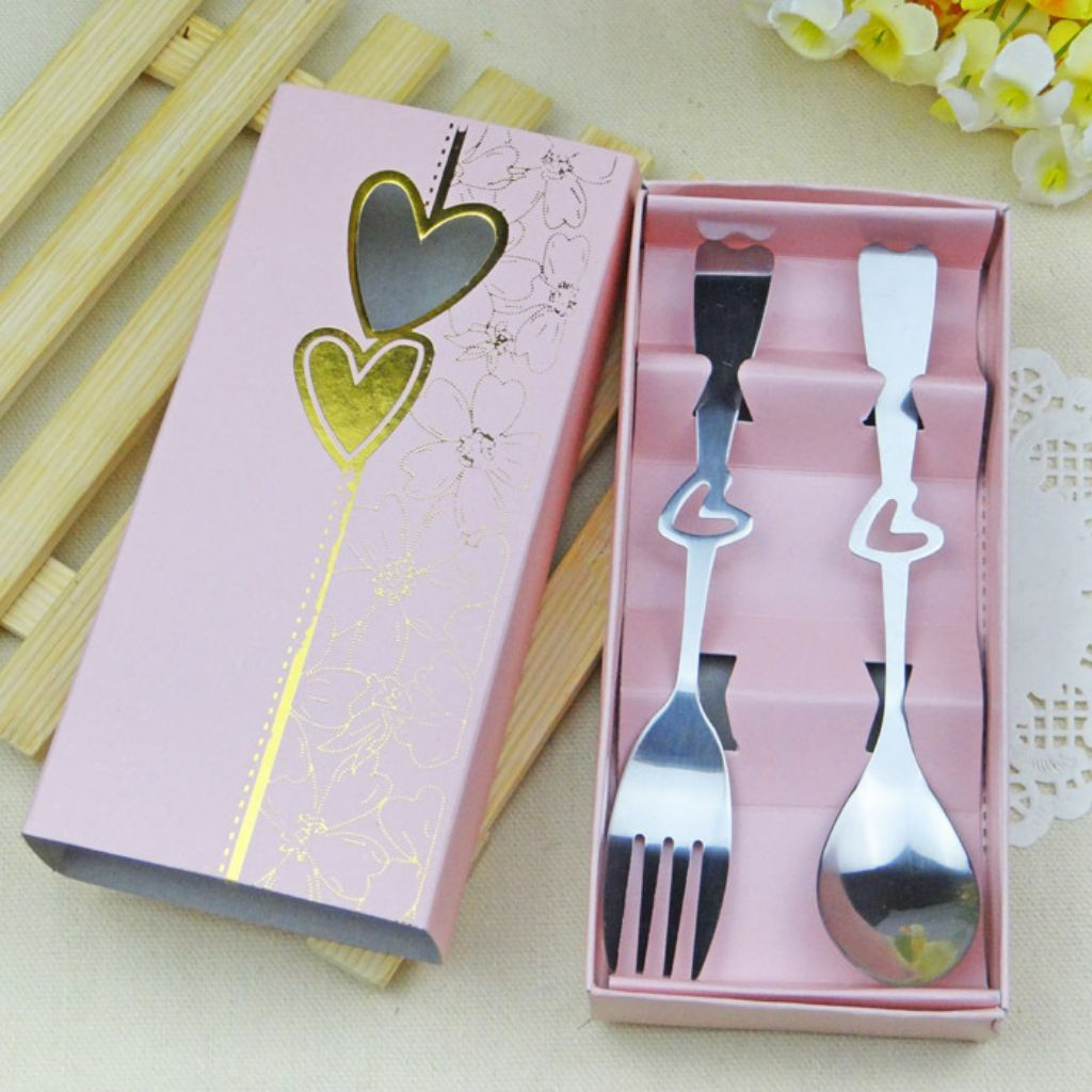 10,Grey Stainless Steel Double Heart Coffee Spoons Wedding Favours Baby Shower Gifts Birthday Party Favour Souvenir Gift for Guests
