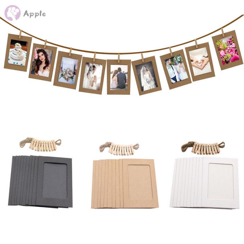10 Set Diy Wall Picture Paper Photo Hanging Frame Album Rope Clip Decoration Sg Frames Home Décor