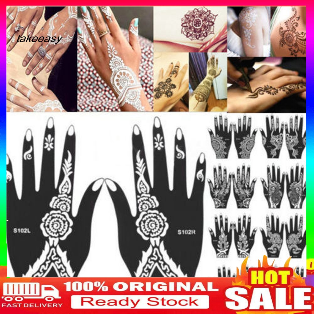 Hy Ws 1pc India Henna Temporary Tattoo Stencil For Single Hand Diy Body Art Decal Shopee Singapore