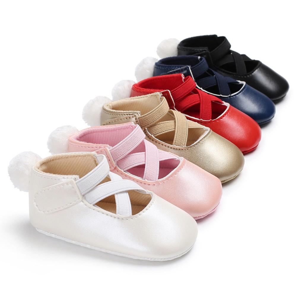 Cross Strap Pompom Toddler Baby Girl Cute Baby Prewalker Soft Sole Crib Shoes Gift for Infant Toddler Boys Girls Red 13cm