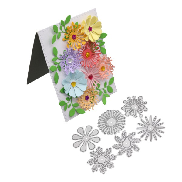 6pcs//set Flowers Metal Cutting Dies For DIY Scrapbooking Album Paper Cards SP