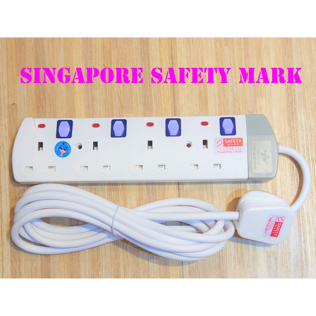 Power Extension Socket Extension Plug Extension Cord Extension Cable 3 Meter Wire Singapore Safety Mark
