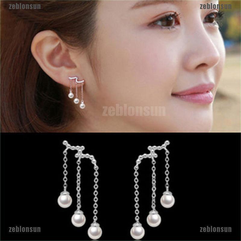 HOT Women Gold Plated Metal Four Leaf Clover Pearl Dangle Ear Stud Drop Earrings