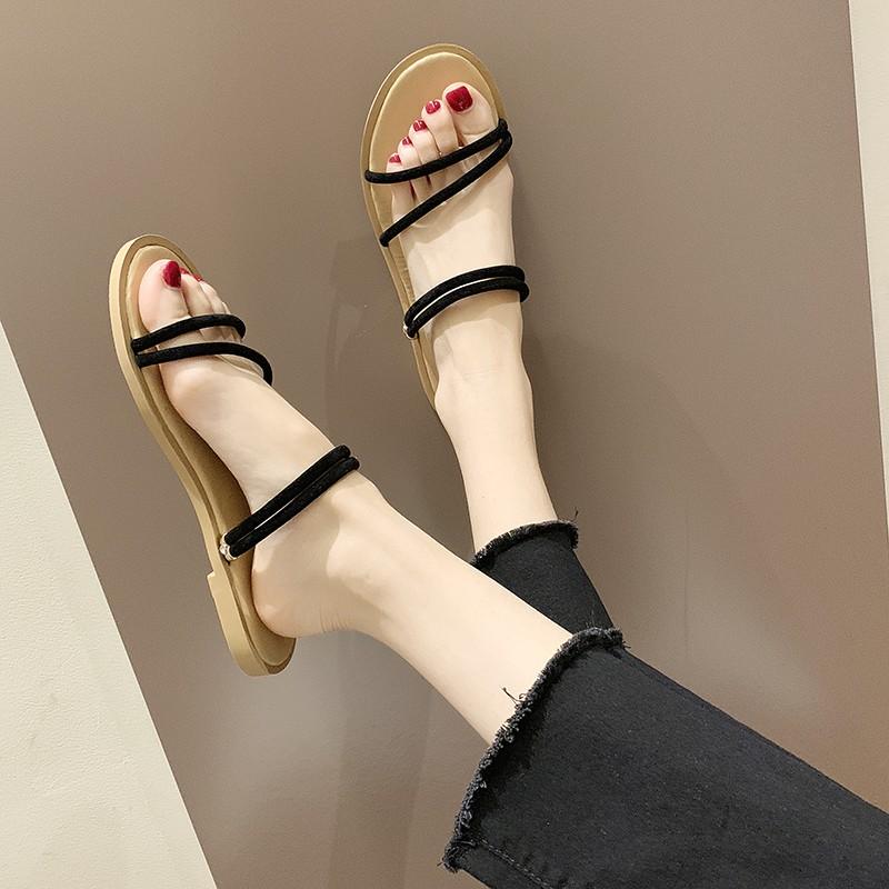 Womens Sandals Summer Fashion Rome Cross Strap Flats Sandals Casual Low Heel Anti,Beige,39