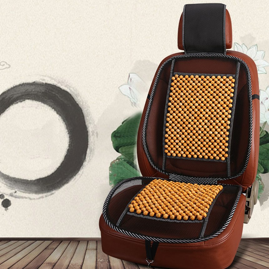 Universal Cooling Mesh Car Seat Cover Massage Wood Beads Summer Cushion Pads