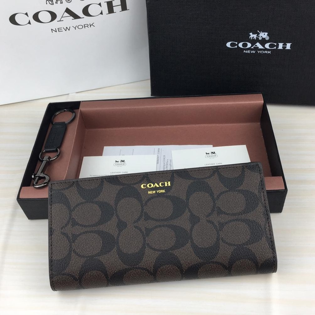 99cbe10135f90 Coach Compact ID Wallet In Sport Calf Leather With Key Fob Set In Box  (F64118) | Shopee Singapore