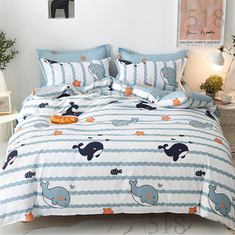 Ocean Cute Dolphin 4 In 1 Bedding Sets Dormitory Queen Size Bedroom Comforter Cover Flat Bedsheet Pillowcase Shopee Singapore