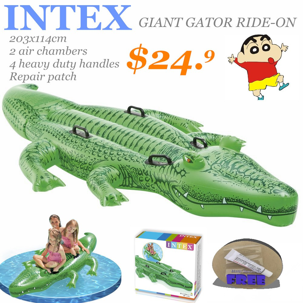 INTEX Giant Gator Rider*203x114cm*Inflatable float*Swimming Toy*Pump to  choose
