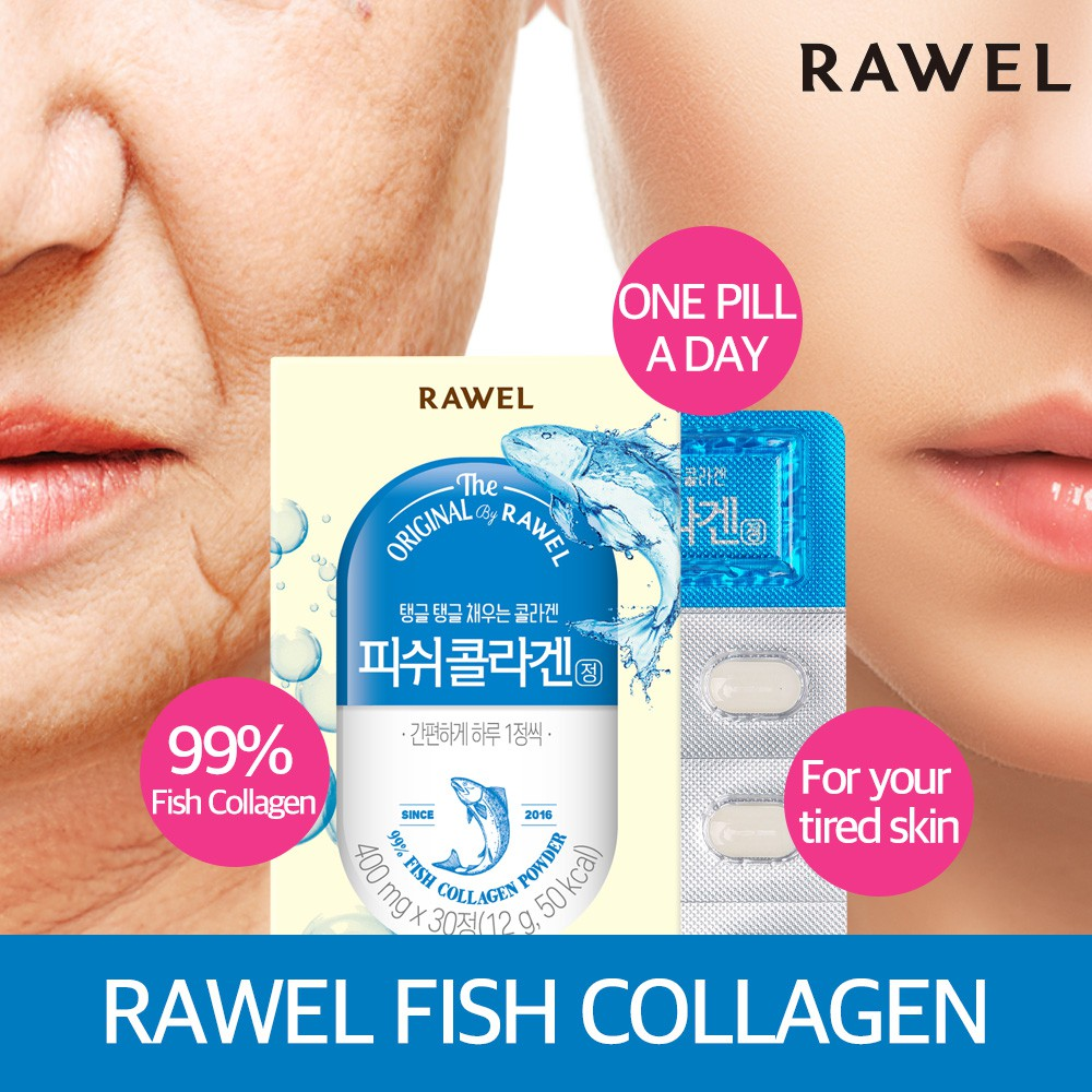 Rawel beauty & skin natural super food Fish Collagen (30s x 2 Boxes) 60s Tablet Kfood tablet & capsules