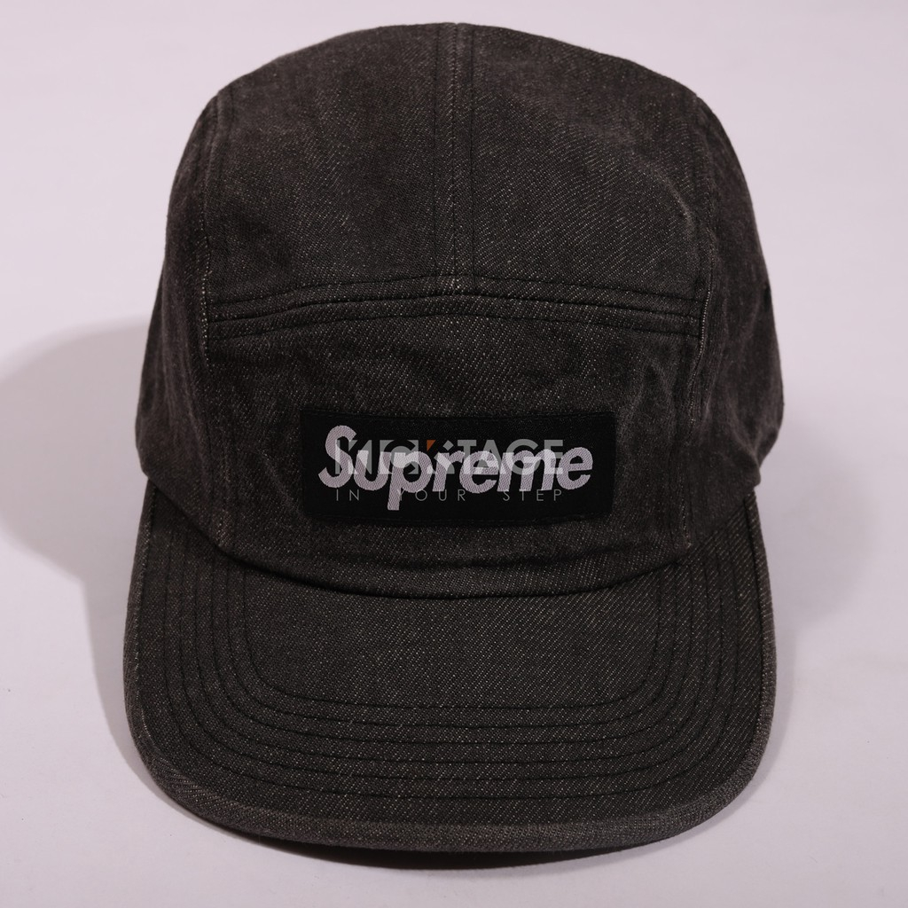 ff09d72b206 Supreme 18SS Contrast Stitch Cap Black Red Line Five Split V PC cap   SUP3