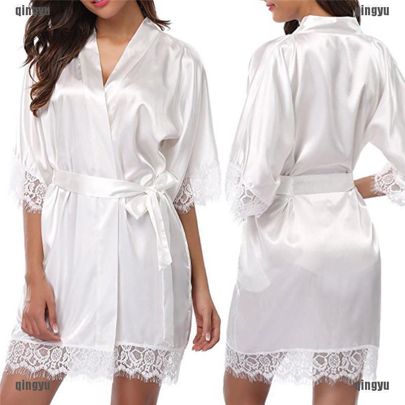 Women Satin Lace Robe with Trim Gown Wedding Bride Kimono Lace Pajamas Bathrobe