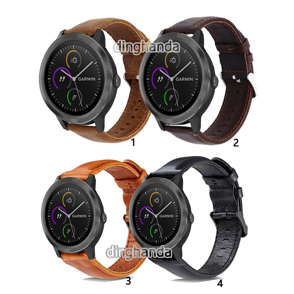 Band Replacement Genuine Leather Strap for Garmin Vivoactive 3 Smart Watch