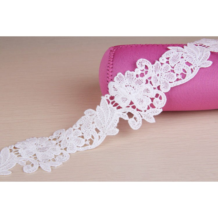 2.5cm Beautiful pink and gold glittery lace trim for designing sewing 1 metre