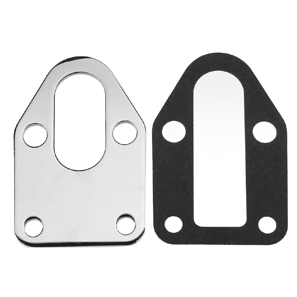 Chrome Fuel Pump Mounting Plate+Gasket For SB Chevy 283 305