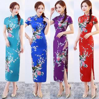 684af9cdd38 Chinese National Satin Cheongsam Vintage Plus Size Floral Women Long Dress  Qipao