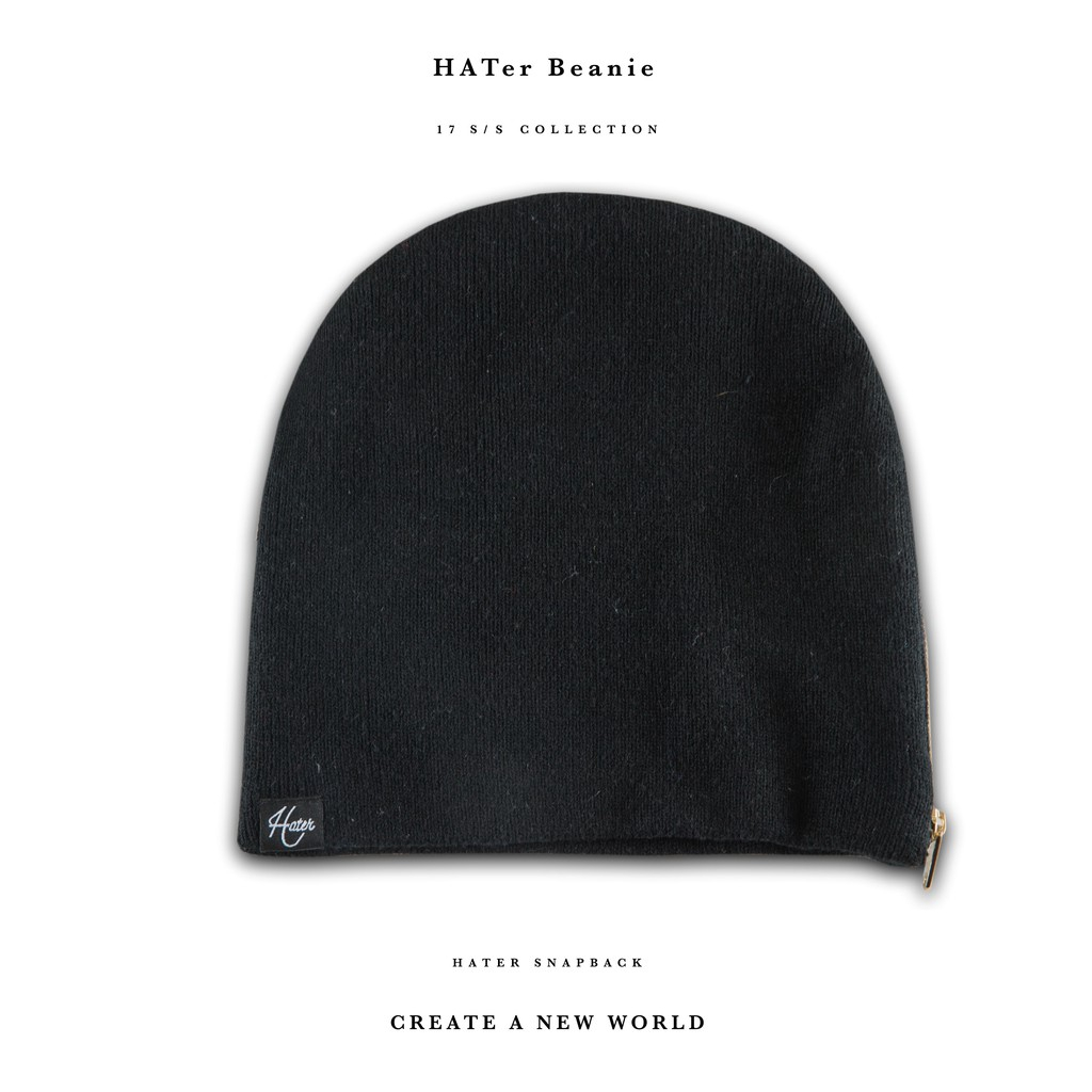 HATer Snapback Zippered Beanie - Black HATer Snapback Zippered Beanie -  Black  75ae46b2a0dd