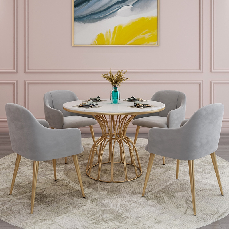Marble Dining Table And Chair Combination Creative Wrought Iron Dining Table Round Leisure Table And Chair Shopee Singapore